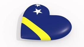 Herz in den Farben und in den Symbolen von Curaçao auf weißem Hintergrund, Schleife stock abbildung