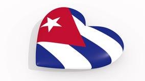 Herz in den Farben und in den Symbolen von Kuba auf weißem Hintergrund, Schleife stock abbildung