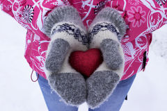 Herz in den Mädchen ` s Händen Junge Frau, die Herz, Winter hält Lizenzfreies Stockfoto