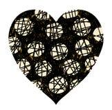 Herz in den Schwarz- und Goldfarben mit Punkten und cribbles lizenzfreie abbildung