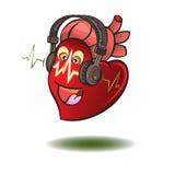 Herz in den Vektorkopfhörern Abbildung Lizenzfreies Stockbild