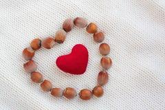 Herz der braunen Haselnusses und des roten Plüschherzens Lizenzfreie Stockbilder