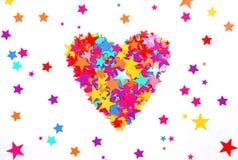 Herz der farbigen Sterne Stockbilder