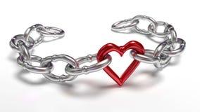 Herz in der Kette Stockbild