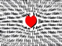 Herz der Liebe stärker als Hass Stockfoto