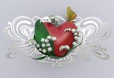 Herz der Wiedergabe 3d mit Blättern, Maiglöckchenblumen und Schmetterling Stockfotos