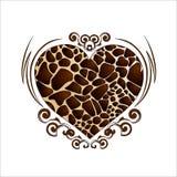 Herz in einer Verzierung mit einer Giraffenfarbe lizenzfreie abbildung