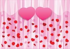 Herz-entwerfen rosa Rosen-Blumenblätter und Valentinsgruß auf hölzernem rosa Hintergrund vektor abbildung