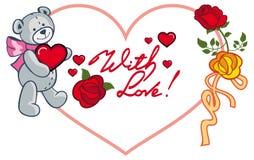 Herz-förmiger Rahmen mit den Rosen und Teddybären, die Herz halten Rast Stockfoto