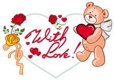 Herz-förmiger Rahmen mit den Rosen und Teddybären, die Herz halten Rasterclipart Lizenzfreies Stockfoto