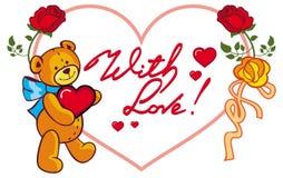 Herz-förmiger Rahmen mit den Rosen und Teddybären, die Herz halten Rasterclipart Stockfotos