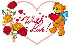 Herz-förmiger Rahmen mit den Rosen und Teddybären, die Herz halten Rasterclipart Stockfotografie