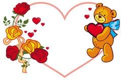 Herz-förmiger Rahmen mit den Rosen und Teddybären, die rotes Herz halten Stockbild