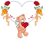Herz-förmiger Rahmen mit den Rosen und Teddybären, die rotes Herz halten Stockfotos