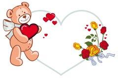 Herz-förmiger Rahmen mit den Rosen und Teddybären, die rotes Herz halten Rasterclipart Lizenzfreie Stockfotos