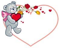 Herz-förmiger Rahmen mit den Rosen und Teddybären, die rotes Herz halten Rasterclipart Lizenzfreies Stockbild
