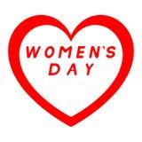 Herz für den Tag der Frauen mit rotem Weg und mit roter Fülleunterzeichnung lizenzfreie abbildung