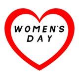 Herz für den Tag der Frauen mit rotem Weg und mit schwarzem Fülletitel lizenzfreie abbildung