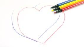 Herz Federzeichnung durch Farbstift stockbilder