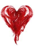 Herz-Form-Stoff, rotes Gewebe-wellenartig bewegende Falten, fliegendes Textilweiß lokalisiert Lizenzfreie Stockfotografie