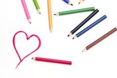 Herz-Form-Zeichnung auf Weißbuch Lizenzfreie Stockfotos
