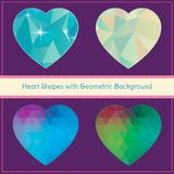Herz-Formen mit geometrischem Schmutz-Hintergrund Stockfoto