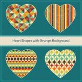 Herz-Formen mit geometrischem Schmutz-Hintergrund Lizenzfreies Stockbild