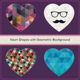 Herz-Formen mit geometrischem Schmutz-Hintergrund Lizenzfreie Stockfotografie
