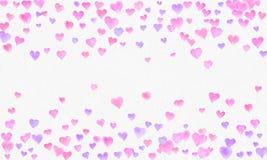 Herz formt Aquarellhintergrund Romantisches Konfettispritzen Hintergrund mit Herz-Konfettis Fallen rote und rosa Papierherzen stockbilder