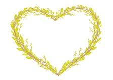 Herz formte den Kranz, der von den jungen Weidenniederlassungen gemacht wurde Dekoration f?r Ostern Auch im corel abgehobenen Bet lizenzfreie abbildung