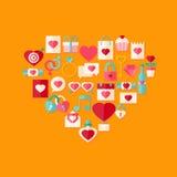 Herz formte die flache Artikone des Valentinstags, die mit Schatten eingestellt wurde Lizenzfreie Stockbilder