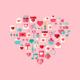 Herz formte flache Artikonen des Valentinstags mit Schatten Stockfotos