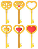 Herz formte Schlüssel-Satz des Gold3d Stockbild