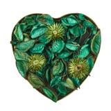 Herz gefüllt mit Gemischtrockenblumengesteck Stockbild
