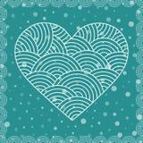 Herz gemacht von den Gekritzelelementen Stilisierte fantastische mit Blumenkarte, Postkarte für Valentine Day, Muster der Liebe Z Lizenzfreies Stockfoto