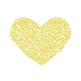 Herz gemacht von den gelben Federn Lizenzfreies Stockfoto