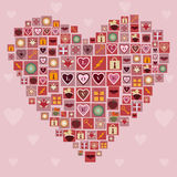 Herz gemacht von den Liebesikonen Stockfoto