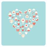Herz gemacht von der Liebe und von Valentine Day Symbol Icons Lizenzfreies Stockfoto