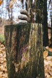 Herz gezeichnet über Stamm mit drei Steinen an der Spitze, im Anflehung Stockfoto