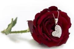 Herz-Halskette und Rose Stockfotos