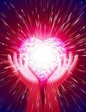 Herz-Handlichtstrahl-Zauberkraft-Liebes-Hintergrund-Rot Lizenzfreie Stockfotos