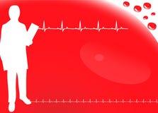 Herz Hintergrund mit ecg Ikonen, Blut Stockfotos