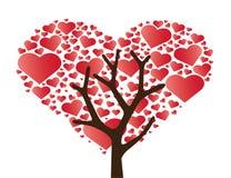 Herz im Herzbaumvektor Stockfotografie