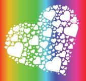 Herz im Herzregenbogenvektor Stockbilder