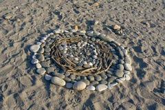 Herz im Sand, Symbol der Liebe, Neuseeland stockfotografie