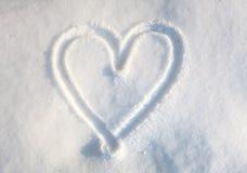 Herz im Schnee Lizenzfreies Stockfoto
