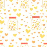 Herz im Weckglasmusterhintergrund, Muster mit Glasgefäß und Herzinnere, Liebesgekritzel-Artmuster, Geschenkpackpapier stock abbildung