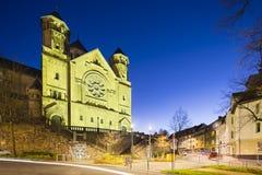 Herz-Jesu Church in Aachen, Germany at night. The catholic Herz-Jesu church in Aachen Burtscheid, Germany with night blue sky royalty free stock photo