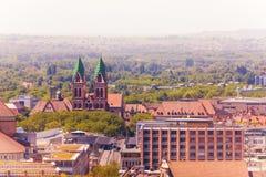 Herz-Jesu-Kirche in Freiburg im Breisgau, Germany. Freiburg im Breisgau cityscape with Herz-Jesu-Kirche, Germany, Europe royalty free stock photos