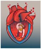Herz kämpft rhythmisch mit Schlägen eines Hammers Stockfotos